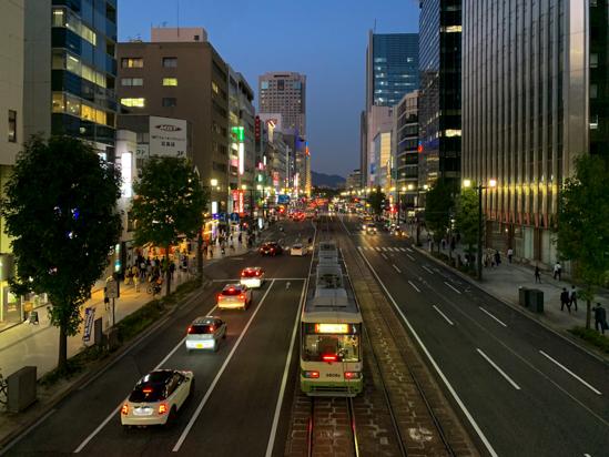 広島市袋町の夕景